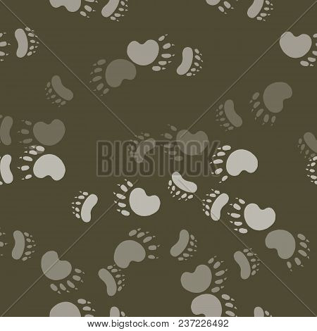 Impress The Paws Of A Bear. Seamless Pattern Background. Wildlife Vector Illustration.