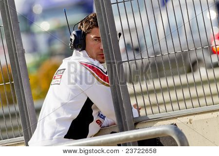 VALENCIA, SPAIN - NOVEMBER 5: LUCIO CECCHINELLO in motogp Grand Prix of the Comunitat Valenciana, Ricardo Tormo Circuit of Cheste, Spain on november 5, 2010
