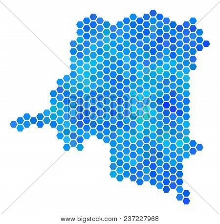 Hexagon Blue Democratic Republic Of The Congo Map. Vector Geographic Map In Blue Color Variations On