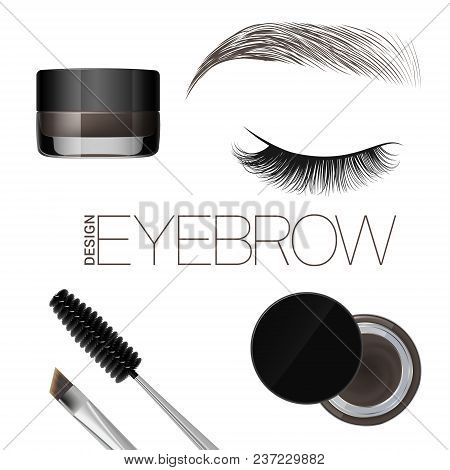 Coloring Gel For Eyebrows. Eyebrows Makeup. Brush And Comb For Eyebrow. Beautiful Closed Eye And Bro