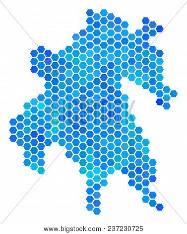 Hexagon Blue Peloponnese Half-island Map. Vector Geographic Map In Cold Color Hues On A White Backgr