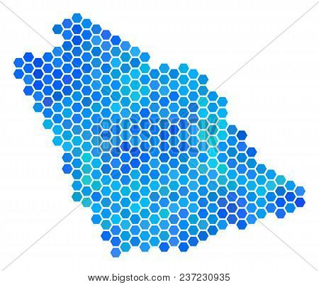 Hexagon Blue Saudi Arabia Map. Vector Geographic Map In Cold Color Tints On A White Background. Blue