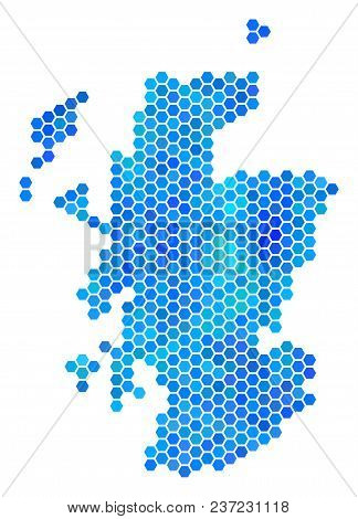 Hexagon Blue Scotland Map. Vector Geographic Map In Blue Color Hues On A White Background. Blue Vect