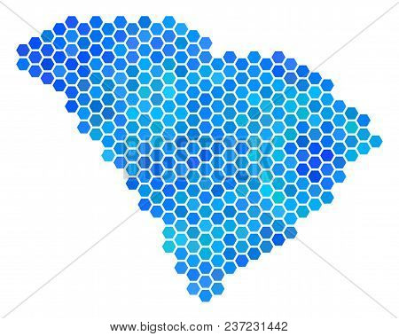 Hexagon Blue South Carolina State Map. Vector Geographic Map In Cold Color Shades On A White Backgro