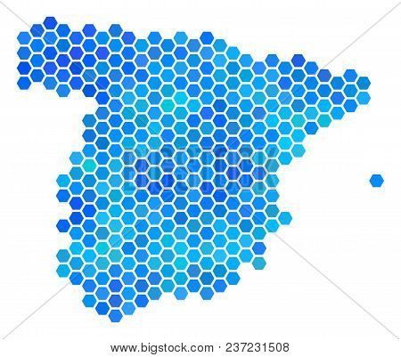Blue Hexagon Spain Map. Vector Geographic Map In Blue Color Tints On A White Background. Blue Vector