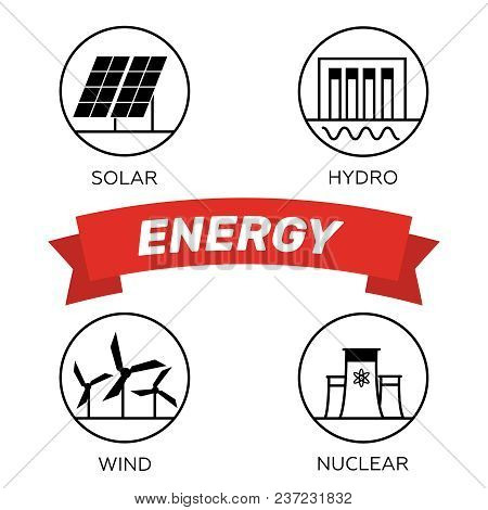 Renewable Energy Vector Illustration. Renewable Energy Concept In Flat Style. Energy Solar And Wind