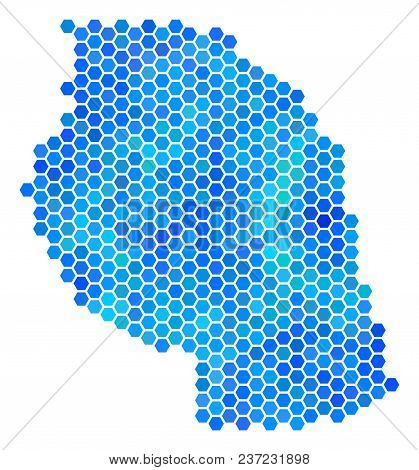 Blue Hexagon Tanzania Map. Vector Geographic Map In Blue Color Tinges On A White Background. Blue Ve