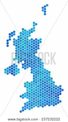 Blue Hexagon United Kingdom Map. Vector Geographic Map In Cold Color Shades On A White Background. B