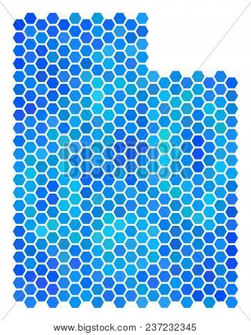 Hexagon Blue Utah State Map. Vector Geographic Map In Blue Color Variations On A White Background. B