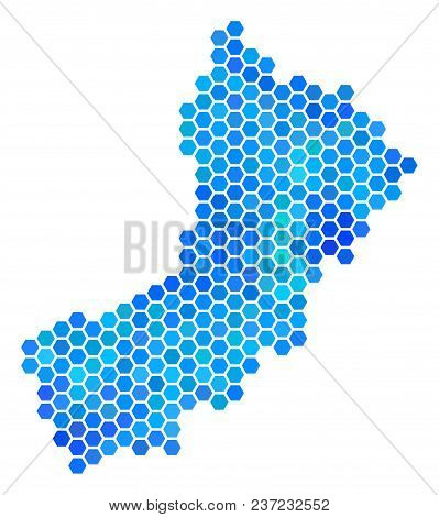 Blue Hexagon Yemen Map. Vector Geographic Map In Cold Color Tints On A White Background. Blue Vector