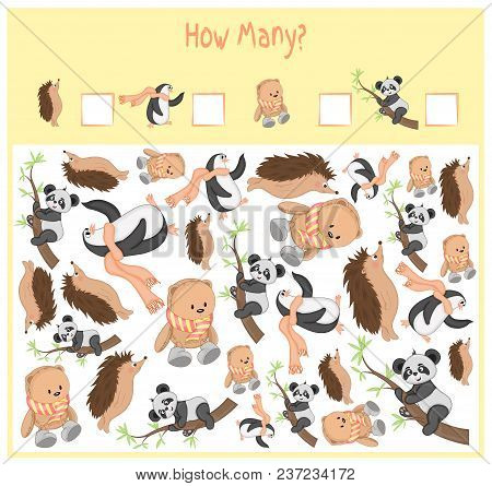 Counting Game For Preschool Children. A Mathematical Educational Game. Count How Many Items And Writ