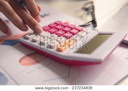 Businessman Calculate About Cost And Doing Finance At Office, Finance Managers Task, Concept Busines