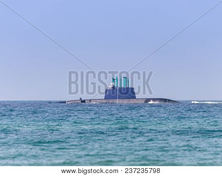 A Combat Submarine Is Participating In A Maritime Parade Off The Coast Of Haifa In Honor Of The 70th