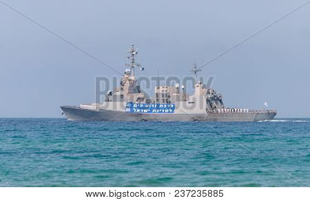 Haifa, Israel - April 19, 2018 : A Combat Ship Is Participating In A Maritime Parade Off The Coast O