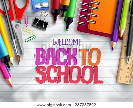 Back To School Vector Background Design With School Elements, Colorful Education Supplies And White