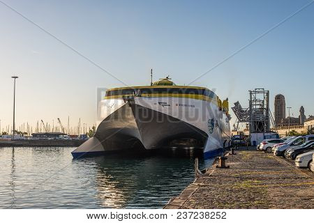 Santa Cruz De Tenerife, Canary Islands, Spain - Desember 11, 2016: High-speed Ship Catamaran Hsc Ben