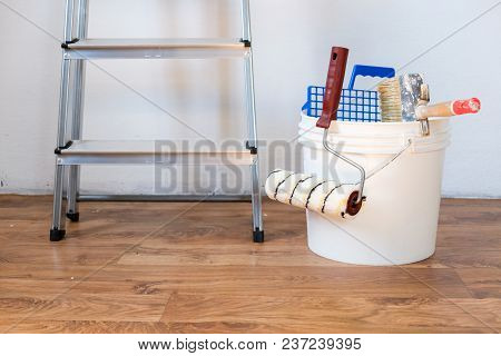 Painting Accessories And Roller Painting Equipment.interiors Renovation Concept