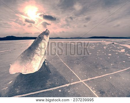 Broken Glacier In The Frozen Bay. Beautiful Winter Background. Marvelous Winter Scene With Marks Of