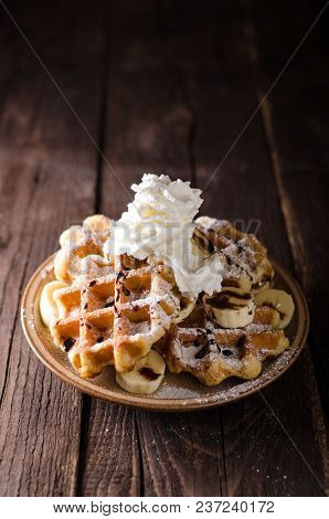 Sugar Waffles Product Photo, Food Photography, Food Stock, Place For Advertisment