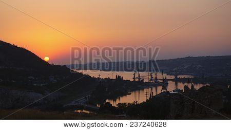 Fortress Kalamita, Inkerman, Crimea, Russia. Sunset Time Over Black Sea, Backlight Landscape