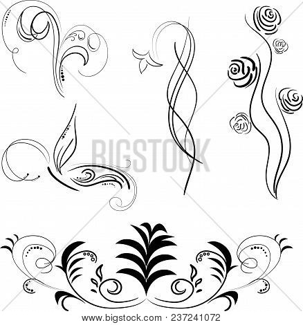 Black Patterns For Tattoos Isolated, Vector Illustration