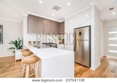 Modern Kitchen Interior With Light Coloured Scandinavian Interior Design. Perth, Western Australia.