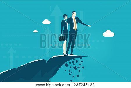 Business People On Top Of The Mountain Making Designs For Future Business Developing. Business Succe