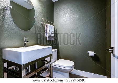 Dark Gray Powder Room With Chrome Washstand