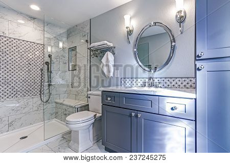 New Blue Bathroom Design With Marble Shower Surround
