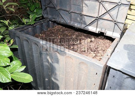 Compost Bin In The Garden For Composting Pile Of Rotting Kitchen Fruits And Vegetable Scraps