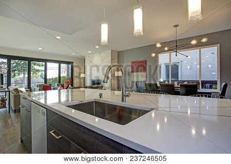 White And Gray Kitchen Room Interior With Open Floor Plan.