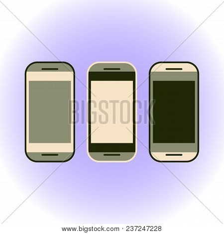 Vector Illustration Of Smartphones On A Light Purple Background. Flat Style.
