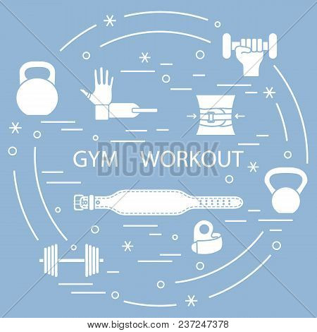 Powerlifting Gym Workout Elements Arranged In A Circle. Template For Your Design, Banner, Poster Or