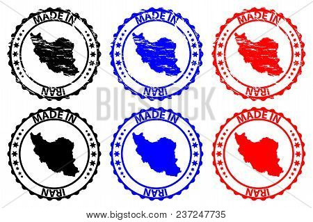 Made In Iran - Rubber Stamp - Vector, Iran Map Pattern - Black, Blue And Red