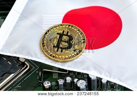 Bitcoin Cryptocurrency Coin On A Japanese Flag
