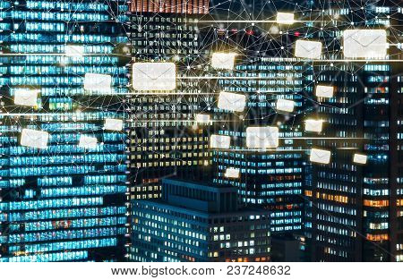 Emails With Skyscrapers Illuminated At Night In Tokyo, Japan