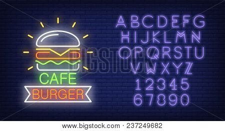Cafe Burger And Alphabet Neon Sign Collection. Hamburger, Ribbon And Violet Letters And Numbers. Nig