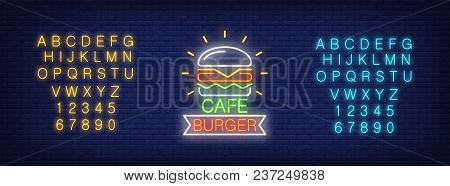 Cafe Burger Logo Neon Sign. Yellow And Blue Sets Of English Alphabet And Numbers. Neon Sign, Night B