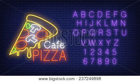 Cafe Pizza Lettering, Piece Of Pizza, English Alphabet And Numbers Neon Signs Set. Neon Sign, Night