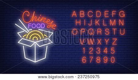 Chinese Takeaway Food And Alphabet Neon Sign Set. Box Of Noodles To Go With Chopsticks And Red Lette