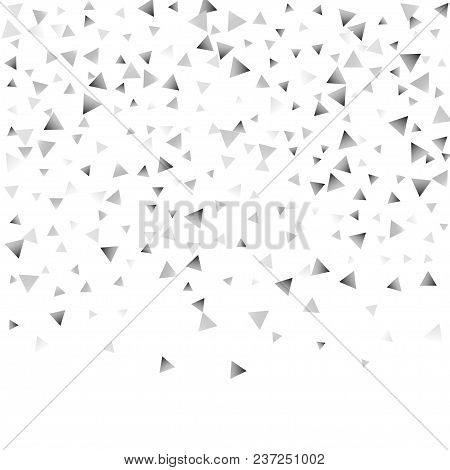 Silver Confetti Triangle On A White Background. Abstract Celebration Background In The Form Of A Sil