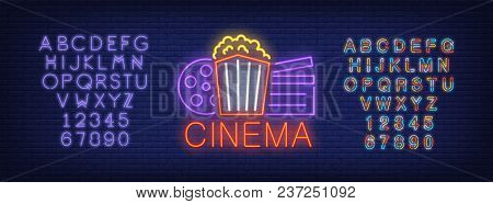 Cinema And Alphabet Neon Sign Set. Popcorn Box, Film Reel, Clapper Board, Violet Colorful Letters An