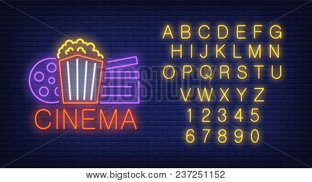 Cinema Lettering With Popcorn, Film Reel, English Alphabet And Numbers Neon Signs Set. Neon Sign, Ni