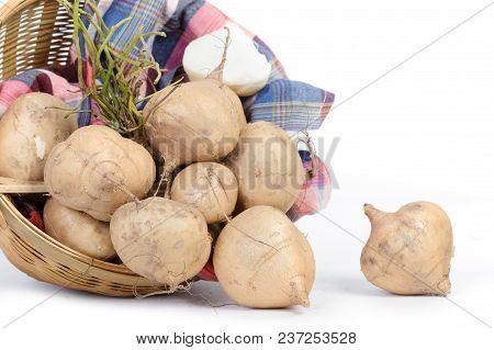 Jicama Or Yam Bean In The Basket