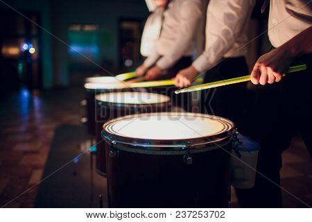 Hands With Drum Sticks And Drum Man Night