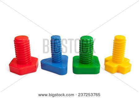 Colored Plastic Bolts On White Background, Isolated
