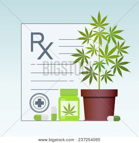 Bottle With Medical Marijuana And Medical Cannabis Pills. Medical Marijuana In Healthcare A Prescrip