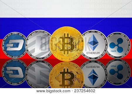 Cryptocurrency Coins - Bitcoin (btc), Litecoin (ltc), Ethereum (eth), Ripple (xrp), Dash On The Back