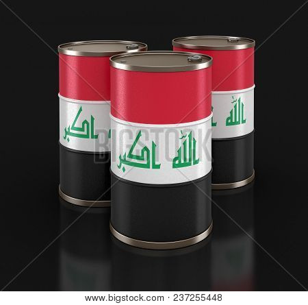 3d Illustration. Oil Barrel With Flag Of Iraq. Image With Clipping Path