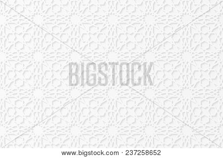 Islamic Geometric 3d Ornament. Arabic Pattern. White Paper Bulk Pattern. The Falling Shadow. Cardboa